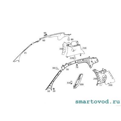Комплект пластиковых деталей и крепежа для американского салона Smart 451 ForTwo 2007 - 2014 оригинал