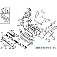 Шильдик / логотип Brabus на решетку радиатора Smart 451 ForTwo 2012 - 2014