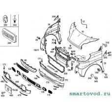 Спойлер-юбка передняя БЕЛАЯ Smart 451 ForTwo 2012 - 2014