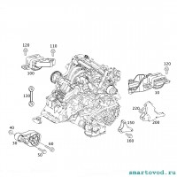 Опора / подушка двигателя центральная Smart 451 ForTwo 2007 - 2014