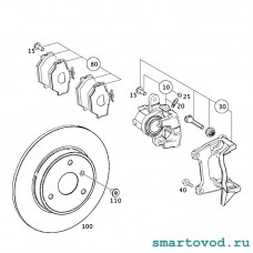 Колодки тормозные передние дисковые Smart 450 /451 ForTwo / 452 Roadster 1998 - 2007