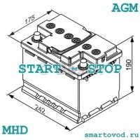 Аккумуляторная батарея AGM Smart ForTwo 451 MHD / ForTwo / ForFour 453 2007-> START-STOP