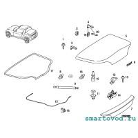 Уплотнитель резиновый проема задней крышки / багажника Smart 452 Roadster 2004 -2006