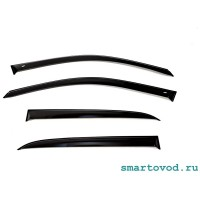 Дефлектор / ветровик на окна черный Smart 453 ForFour 2014 -> (комплект 4 шт)