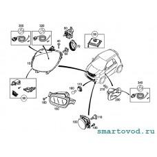 Фара передняя ЛЕВАЯ головного света с LED ходовыми огнями Smart 453 ForTwo 2014 ->