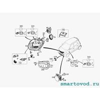 Фара передняя ЛЕВАЯ головного света галогеновая Smart 453 ForFour 2014 ->