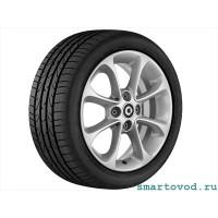 """Легкосплавный колесный диск с 8 спицами задний 15"""" Серебристый ванадий Smart 453"""