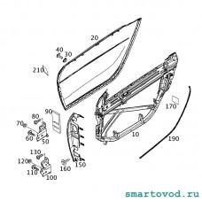 Накладка двери наружняя правая Smart 453 ForTwo 2014 ->