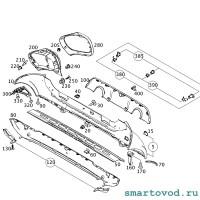 Заглушка бампера заднего (отверстия буксировочного крюка) Smart 453 ForTwo / ForFour 2014 --> (под покраску)