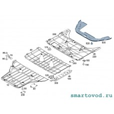 Защита средняя / пыльник днища Smart 453 ForFour 2014 ->