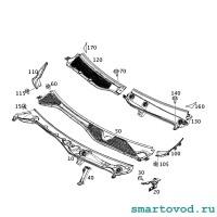 Накладка жабо боковая водосточная ПРАВАЯ Smart 453 ForTwo / ForFour 2014 ->