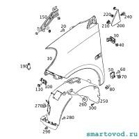 Кронштейн передний крыла левый Smart 453 ForTwo 2014 ->