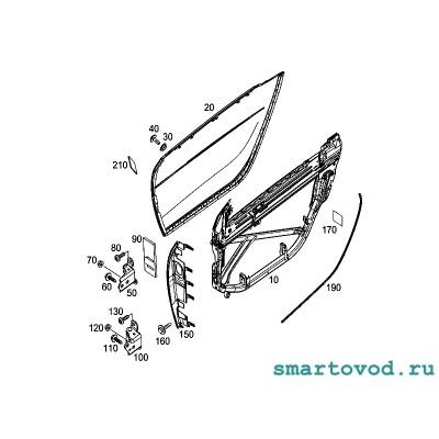 Панель / Накладка двери правая ЧЕРНАЯ Smart 453 ForTwo 2014 ->>