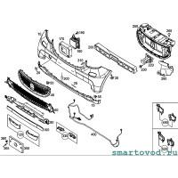 Заглушка бампера переднего (отверстия буксировочного крюка) Smart 453 ForTwo / ForFour 2014 --> (под покраску)
