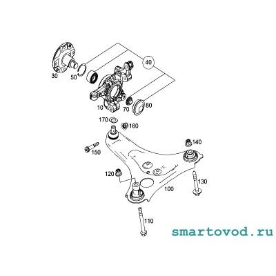 Поворотный кулак левый передней подвески Smart 453 ForTwo / ForFour 2014 ->