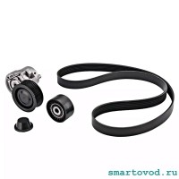 Ремкомплект ременного привода - ремень поликлиновый, натяжитель с роликом, паразитный ролик Smart 453 ForTwo / ForFour 2014 ->