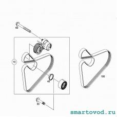 Натяжитель с роликом приводного ремня Smart 453 ForTwo / ForFour 2014 ->