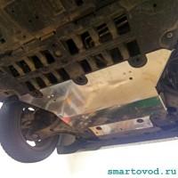Защита алюминиевая передней части днища Smart 453 ForTwo / ForFour 2014 ->