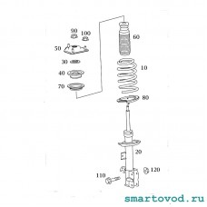Тарелка / опора пружины верхняя передней подвески Smart 454 ForFour 2004 - 2006