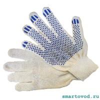 Перчатки рабочие хлопок 10 класс белые с ПВХ нанесением