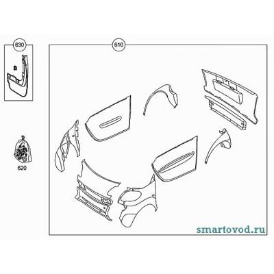 Сменные панели, комплект Smart ForTwo 2007-> ЧЕРНЫЙ