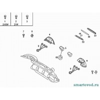 Клипса крепления основания задних фонарей Smart Roadster