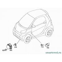 Повторитель поворотника на крыле левый, прозрачный Smart ForTwo 2007->