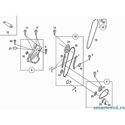 Натяжитель цепи масляного насоса Smart ForTwo / Roadster 98-07