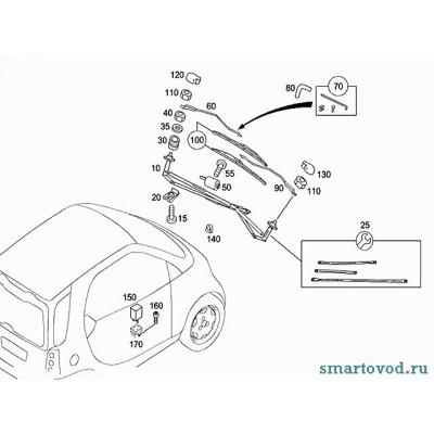 Поводок стеклоочистителя левый Smart ForTwo 98-07
