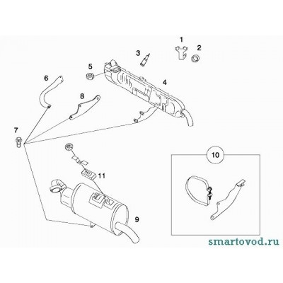 Гайка шпильки крепления глушителя Smart ForTwo / Roadster 98-07