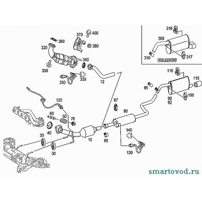 Крепеж приемной трубы, комплект, Smart ForFour бензин 454 2004 - 2006